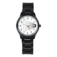 Fence Line Black Stainless Steel Round Watch by Mariart