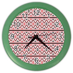 Clipart Embroidery Star Red Line Black Color Wall Clocks by Mariart
