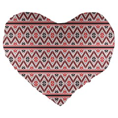 Clipart Embroidery Star Red Line Black Large 19  Premium Heart Shape Cushions by Mariart