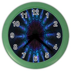 Exploding Flower Tunnel Nature Amazing Beauty Animation Blue Purple Color Wall Clocks by Mariart