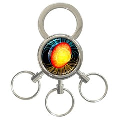 Cross Section Earth Field Lines Geomagnetic Hot 3 Ring Key Chains by Mariart