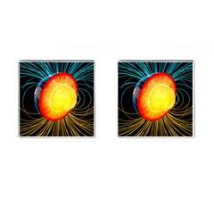Cross Section Earth Field Lines Geomagnetic Hot Cufflinks (square) by Mariart