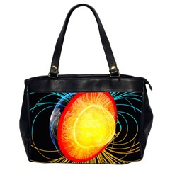 Cross Section Earth Field Lines Geomagnetic Hot Office Handbags (2 Sides)  by Mariart