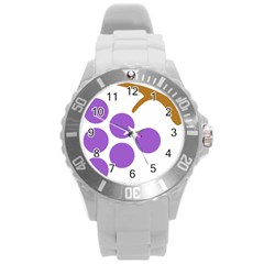 Fruit Grape Purple Round Plastic Sport Watch (l) by Mariart