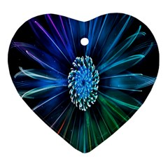 Flower Stigma Colorful Rainbow Animation Space Heart Ornament (two Sides) by Mariart