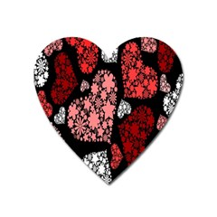 Floral Flower Heart Valentine Heart Magnet by Mariart