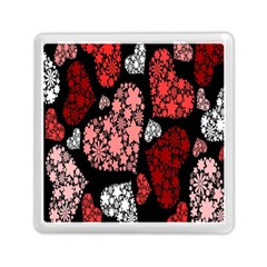 Floral Flower Heart Valentine Memory Card Reader (square)  by Mariart