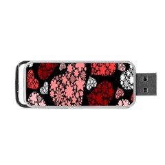 Floral Flower Heart Valentine Portable Usb Flash (two Sides) by Mariart