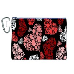 Floral Flower Heart Valentine Canvas Cosmetic Bag (xl) by Mariart