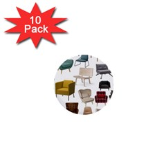 Furnitur Chair 1  Mini Buttons (10 Pack)  by Mariart