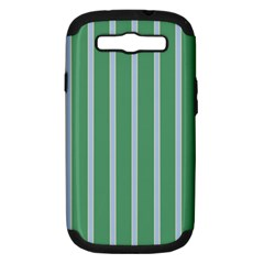 Green Line Vertical Samsung Galaxy S Iii Hardshell Case (pc+silicone) by Mariart