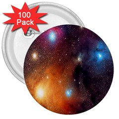 Galaxy Space Star Light 3  Buttons (100 Pack)  by Mariart