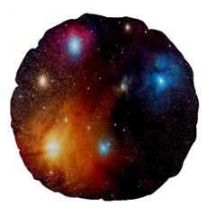 Galaxy Space Star Light Large 18  Premium Flano Round Cushions by Mariart