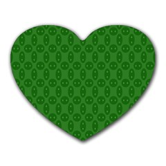 Green Seed Polka Heart Mousepads by Mariart