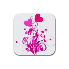 Heart Flourish Pink Valentine Rubber Coaster (square)  by Mariart