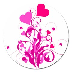 Heart Flourish Pink Valentine Magnet 5  (round) by Mariart