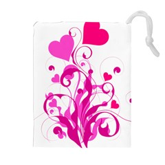 Heart Flourish Pink Valentine Drawstring Pouches (extra Large) by Mariart
