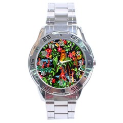 Hawaiian Girls Black Flower Floral Summer Stainless Steel Analogue Watch by Mariart