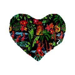 Hawaiian Girls Black Flower Floral Summer Standard 16  Premium Flano Heart Shape Cushions by Mariart