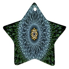 Hipnotic Star Space White Green Star Ornament (two Sides) by Mariart