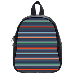 Horizontal Line Blue Green School Bag (small) by Mariart