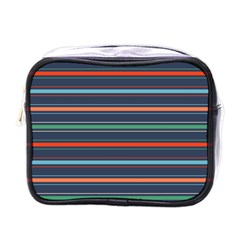 Horizontal Line Blue Green Mini Toiletries Bags by Mariart