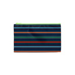 Horizontal Line Blue Green Cosmetic Bag (xs) by Mariart