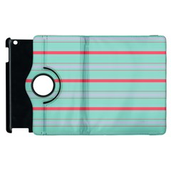 Horizontal Line Blue Red Apple Ipad 2 Flip 360 Case by Mariart