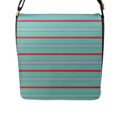 Horizontal Line Blue Red Flap Messenger Bag (l)  by Mariart