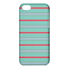 Horizontal Line Blue Red Apple Iphone 5c Hardshell Case by Mariart