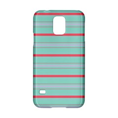 Horizontal Line Blue Red Samsung Galaxy S5 Hardshell Case  by Mariart