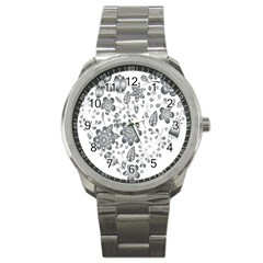 Grayscale Floral Heart Background Sport Metal Watch by Mariart