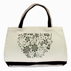 Grayscale Floral Heart Background Basic Tote Bag by Mariart