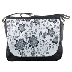 Grayscale Floral Heart Background Messenger Bags by Mariart