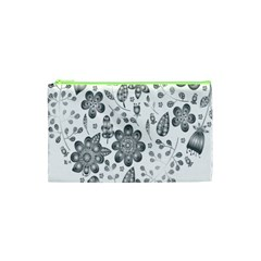 Grayscale Floral Heart Background Cosmetic Bag (xs) by Mariart
