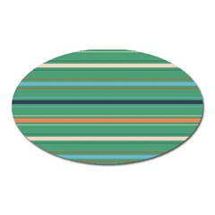 Horizontal Line Green Red Orange Oval Magnet by Mariart