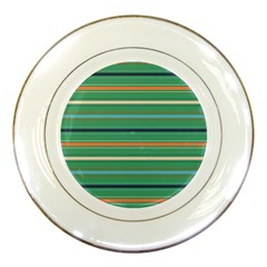 Horizontal Line Green Red Orange Porcelain Plates