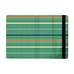 Horizontal Line Green Red Orange Apple Ipad Mini Flip Case by Mariart