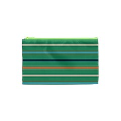 Horizontal Line Green Red Orange Cosmetic Bag (xs) by Mariart