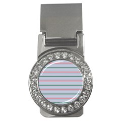 Horizontal Line Green Pink Gray Money Clips (cz)  by Mariart