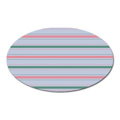 Horizontal Line Green Pink Gray Oval Magnet by Mariart