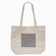 Horizontal Line Green Pink Gray Tote Bag (cream) by Mariart