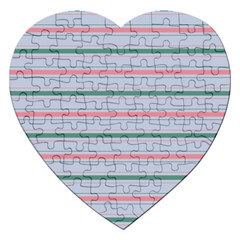 Horizontal Line Green Pink Gray Jigsaw Puzzle (heart) by Mariart