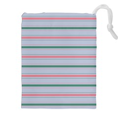 Horizontal Line Green Pink Gray Drawstring Pouches (xxl) by Mariart