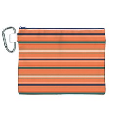 Horizontal Line Orange Canvas Cosmetic Bag (xl) by Mariart