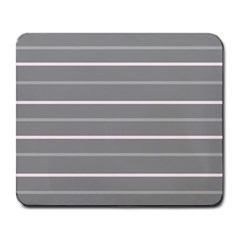 Horizontal Line Grey Pink Large Mousepads by Mariart