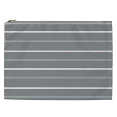 Horizontal Line Grey Pink Cosmetic Bag (xxl)
