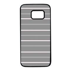Horizontal Line Grey Pink Samsung Galaxy S7 Black Seamless Case by Mariart