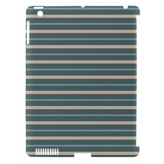 Horizontal Line Grey Blue Apple Ipad 3/4 Hardshell Case (compatible With Smart Cover) by Mariart