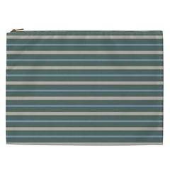 Horizontal Line Grey Blue Cosmetic Bag (xxl)